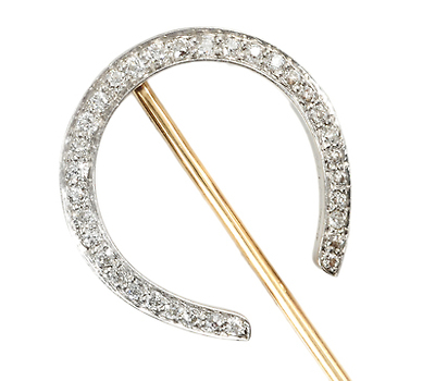 Equestrian Lovers' Diamond Horseshoe Stickpin