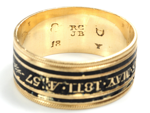 Georgian Black Enamel Memorial Ring