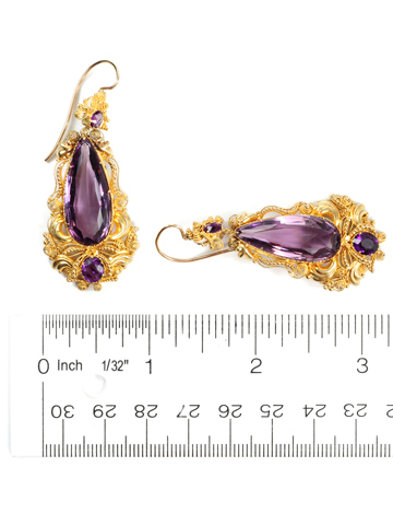 Georgian Amethyst 18k Gold Earrings