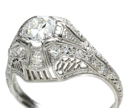 Dome of Heaven - Art Deco Diamond Platinum Ring