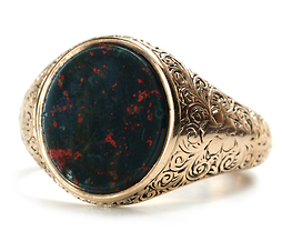 Antique Rose Gold Agate Ring