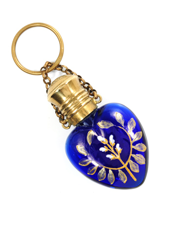 Floral Cobalt Blue Glass Perfume Bottle