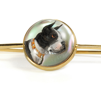 Striking Essex Crystal of Boxer Dog Pin