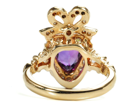 Amethyst & Diamonds Heart Ring