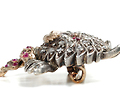 Victorian Diamond and Ruby Cat Brooch