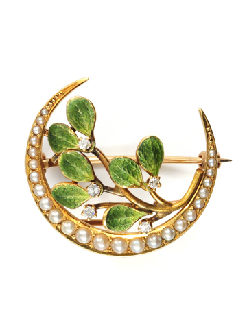 Krementz Mistletoe & Crescent Moon Brooch