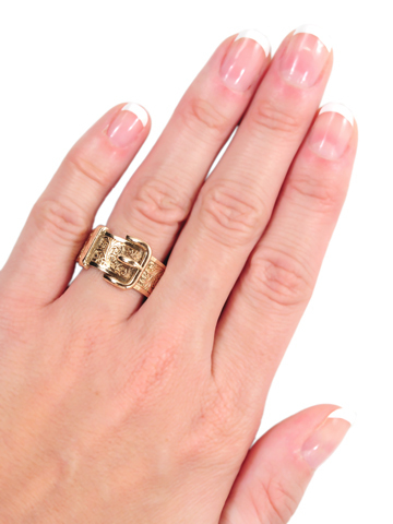 Victorian Rose Gold Buckle Ring