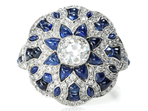A Worthy Beauty: Diamond Sapphire Dome Ring