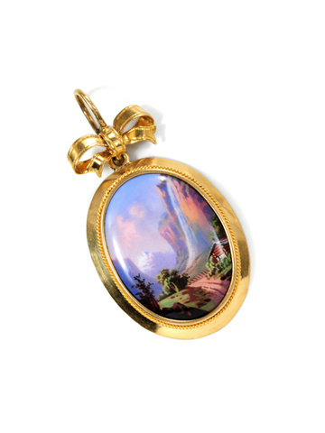 Antique Swiss Enamel Scene Pendant