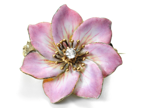 Flower Power - Enamel Diamond Flower Pendant