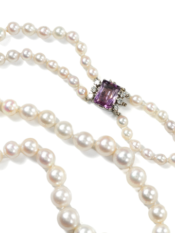 Cultured Pearl Necklace with Amethyst Diamond Clasp