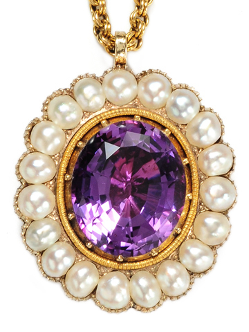 Georgian Magic: Amethyst & Pearl Pendant