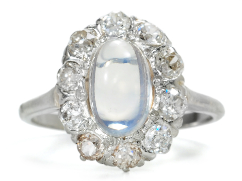 Moonbeams & Stars: Moonstone & Diamond Ring