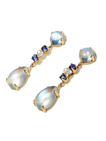 Moonstone, Sapphire & Pearl Earrings