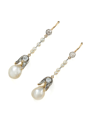 Antique Natural Pearl Diamond Earrings