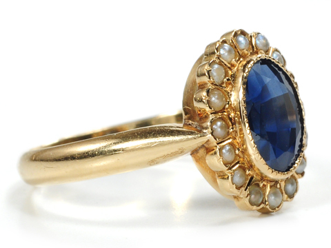 French Edwardian Sapphire & Pearl Ring