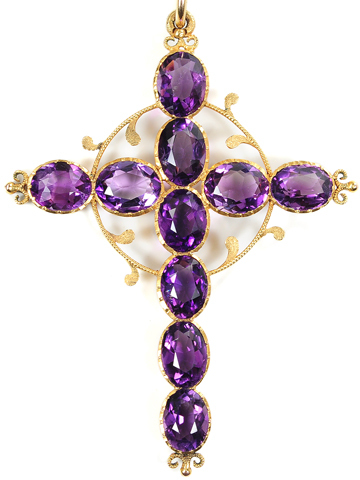 Antique Amethyst Cross Pendant