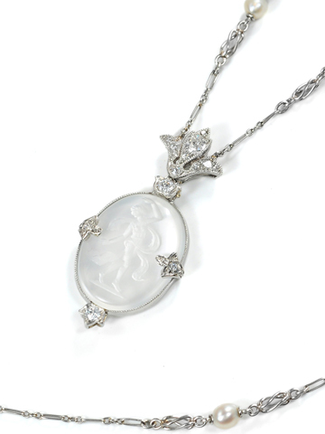 Ethereal Edwardian Diamond & Moonstone Necklace