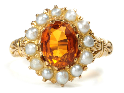 Edwardian Oranges and Cream in a Pearl & Citrine Ring