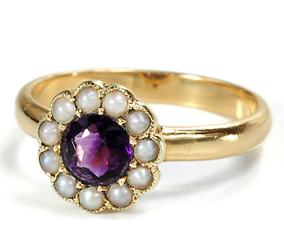 Delicate Antique Amethyst Amp Pearl Ring The Three Graces