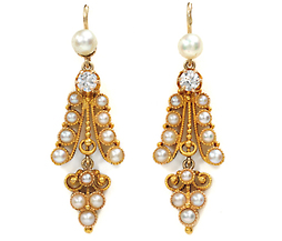 Victorian Light Show in a Pearl & Diamond Earring