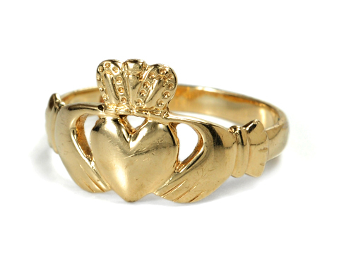 Symbolic Gold Claddagh Ring