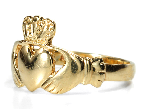 Symbolic Gold Claddagh Estate Ring
