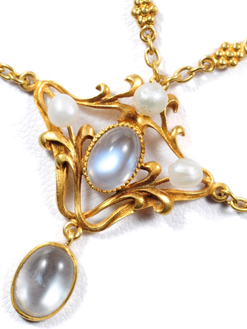 Art Nouveau Moonstone & Pearl Festoon Necklace