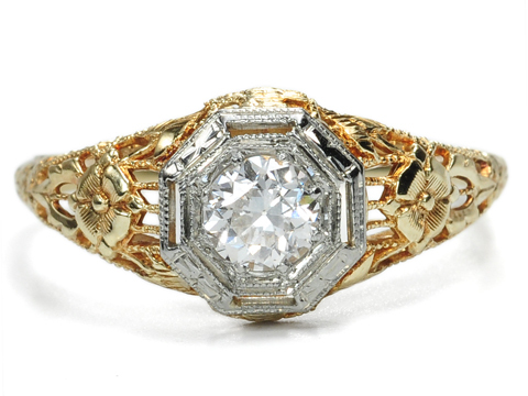 Art Deco Blooms in a Diamond Ring