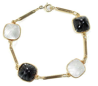 American Art Deco Carved Onyx & Rock Crystal Bracelet