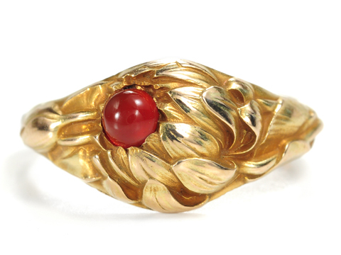 Larter & Sons Art Nouveau Garnet  Gold Ring