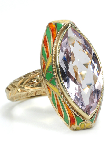 Art Deco Madness: Marquise Amethyst & Enamel Ring