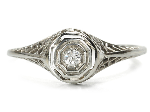 Je T'aime: Art Deco Diamond Gold Ring