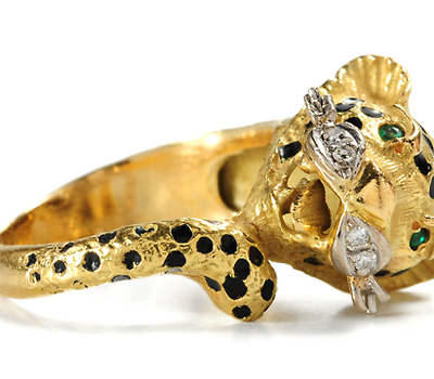 Wild Beast:: Bejeweled Leopard Ring