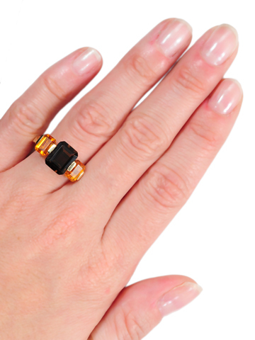 Modernism Plus: Smoky Quartz & Citrine Estate Ring