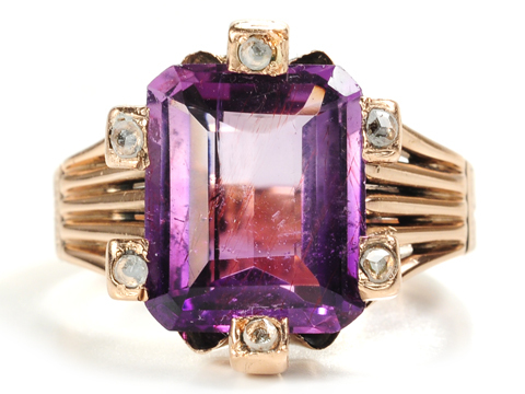 Victorian Valor: Amethyst Rose Gold Ring