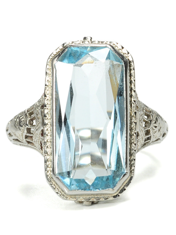 Blue Lace in an Art Deco Aquamarine Ring