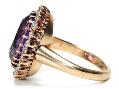 Antique Amethyst Diamond Cluster Ring