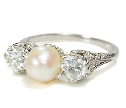 Antique Natural Pearl & Diamond Ring