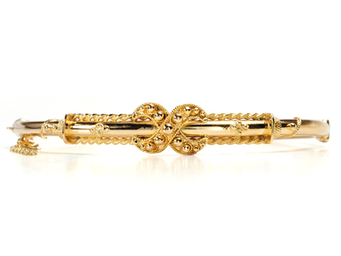 X Marks the Spot - Gold Bangle Bracelet