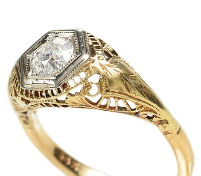 Edwardian Golden Trellis Diamond Ring