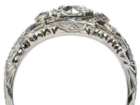 Steps of Art Deco: Diamond & Emerald Ring