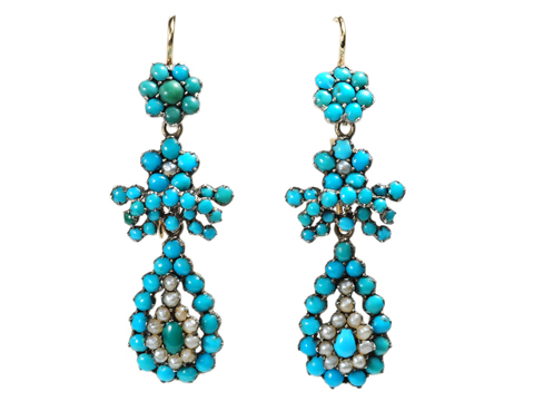 Antique Turquoise & Seed Pearl Earrings