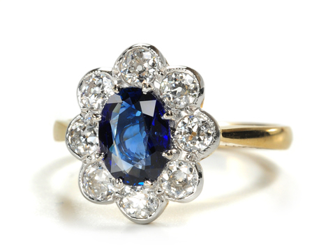 Edwardian Ecstasy in a Sapphire Diamond Ring