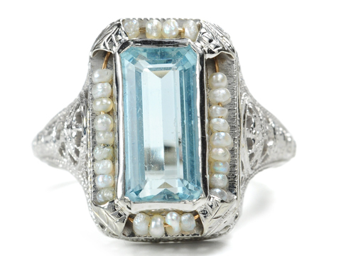 Alice & The Art Deco Aquamarine Ring