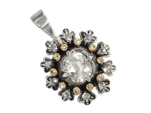 Victorian Cushion Cut Diamond Pendant