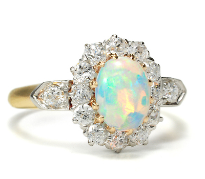 Opulence of Color: Edwardian  Opal Diamond Ring