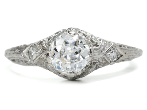 Art Deco Artistry: Vintage Platinum Diamond Ring