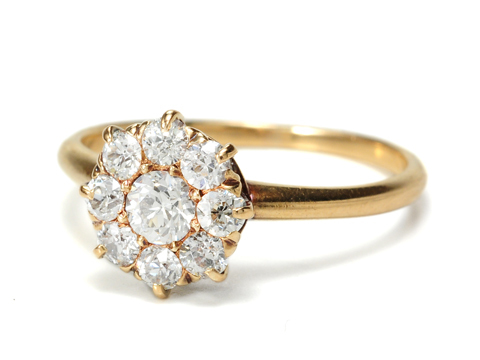 Cluster of Diamonds in a Vintage Edwardian Ring