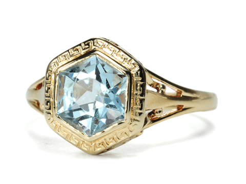 Art Deco  Aquamarine Set Vintage Ring